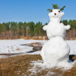 Spring melt snowman - Stock Photo