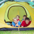 Family in tent — Stock Photo