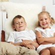 Stock Photo: children watching tv