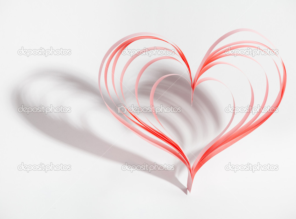 Valentine heart made ??out of paper. Card valenyine's day. — Stock Photo #8047698