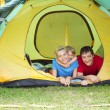 Stock Photo: Family in tent