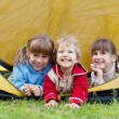 Children in tent — Stock Photo