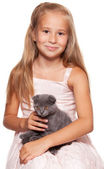 Girl with cat — Stok fotoğraf