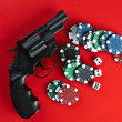 Casino. revolver, cards and counters — Stock Photo