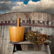 Royalty-Free Stock Photo: Bath Barrel with broom