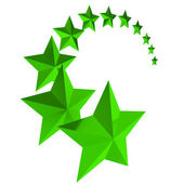 Eleven Green stars on white background — Stock Photo