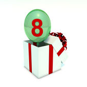 Green toy balloon with yellow 8 number — Stock Photo