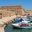 Heraklion harbour and castle. Crete, Greece - Stock Photo