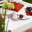 Apples on the white deck — Foto Stock
