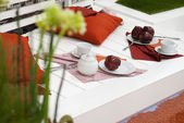 Apples on the white deck — Stock Photo