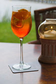 Aperol in a glass on the table — Stok fotoğraf