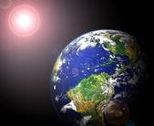 Earth and sun — Stock Photo