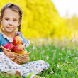 Little girl sitting on grass with basket of apples — Stock Photo #10023185