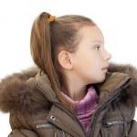 Little girl closeup in warm winter jacket — Stock Photo #10023230