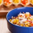 Stock Photo: Tartlets with crab salad and corn