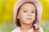 Little girl in hat close up — Stock Photo