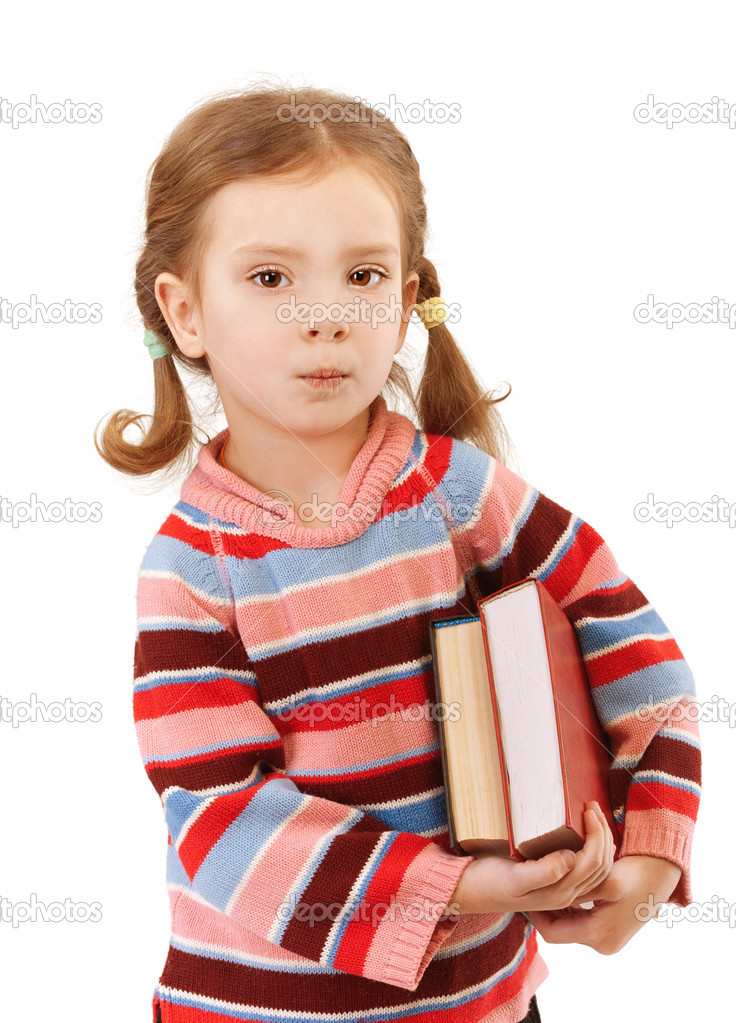 Beautiful little girl in striped sweater holding two big books, isolated on white background. — Stock Photo #10023169