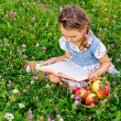 Little girl sitting on grass with apples and book — Stock Photo