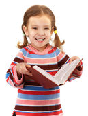 Little girl in striped sweater — Stock Photo