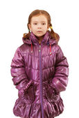 Little girl in warm winter jacket — Stock Photo