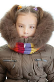 Little girl closeup in warm winter jacket — Stock Photo