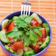 Salad of tomatoes, cucumbers and parsley — Stock Photo
