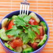 Stock Photo: Salad of tomatoes, cucumbers and parsley