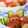 Stock Photo: Meat cutlets with cucumber and mushrooms