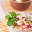Crab salad and Russian borscht — Stock Photo