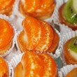 Stock Photo: Tasty little tarts with tangerine and kiwi fruit