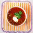Red borscht (soup) — Stock Photo