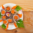 Salted fish (herring) rolls - Stock Photo