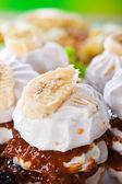 Meringue dessert, marshmallow, whipped cream, condensed milk, ba — Stock Photo