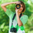 Women with two cameras — Stock Photo