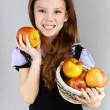 Portrait of girl with apples — Stock Photo #8099389