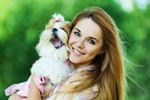 Woman with dog — Stockfoto