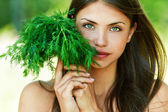 Girl with dill — Stock Photo