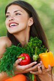 Girl with vegetarian set — Stock Photo