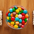 Two cookies and lot bowl — Stock Photo