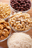 Peeled hazelnuts (walnut, cashew, pine, sesame) — Stock Photo