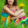 Portrait young gay beautiful woman holding bouquet yellow wildfl — Stock Photo