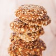 Oatmeal cookies with a splash of sunflower seeds, sesame seeds — Stock Photo