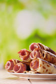 Meat rolls in the pancakes — Stock Photo