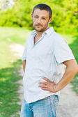 Portrait of man in light shirt — Stockfoto