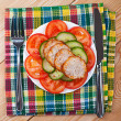 Vegetables, slices of meatloaf - Photo