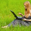 Young beautiful woman working on laptop - Stock Photo