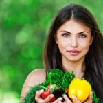 Girl with vegetarian set — Stock Photo
