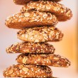Oatmeal cookies with a splash of sunflower seeds, sesame seeds — Stock Photo #9550745