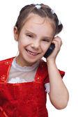 Bambina sorridente con telefono — Foto Stock