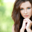 Portrait of young long-haired woman — Foto Stock